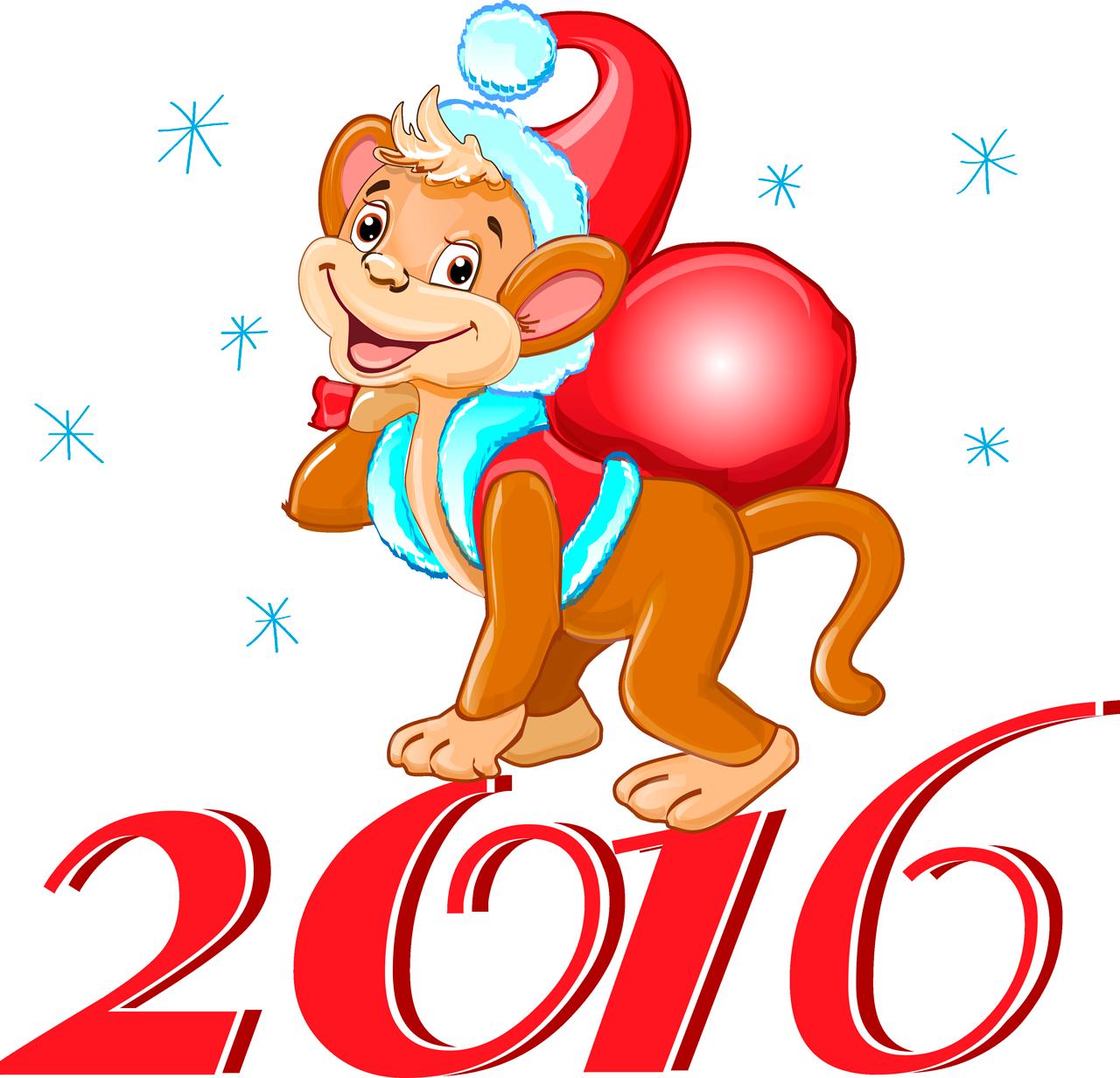 Новый год 2016: открытки с Обезьянками - t 2